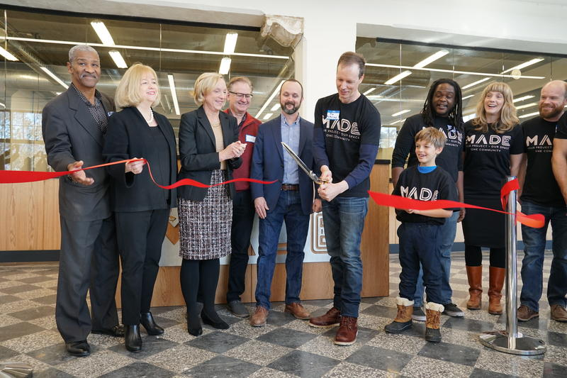 Nov. 16, 2018 MADE makerspace opens on Delmar with Jim McKelvey leading effort.