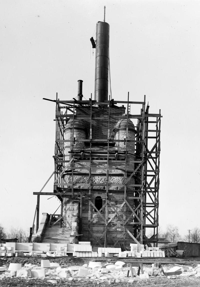 Compton Hill water tower, shown partially completed circa 1897.