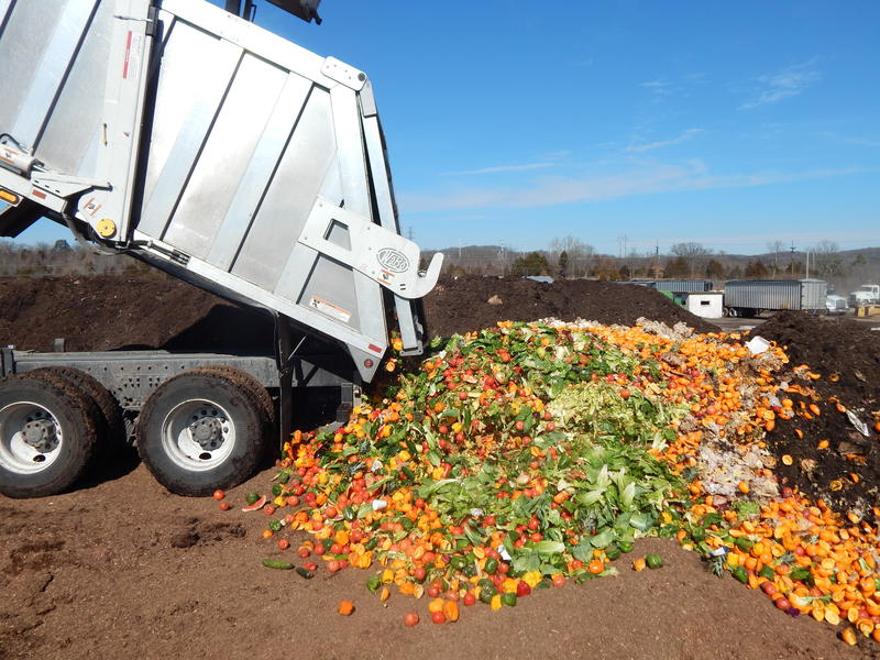 Food waste being dropped off Total Organics Recycling's facility in St. Louis.