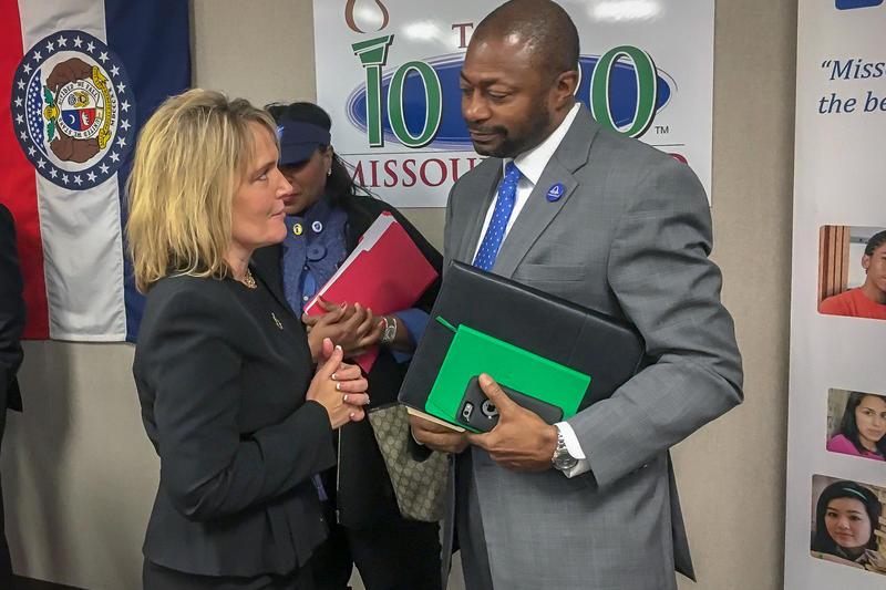 Then-Education Commissioner Margie Vandeven, left, speaks to St. Louis Public Schools Superintendent Kelvin Adams in January 2017. Vandeven was fired last December but will return as education commissioner.