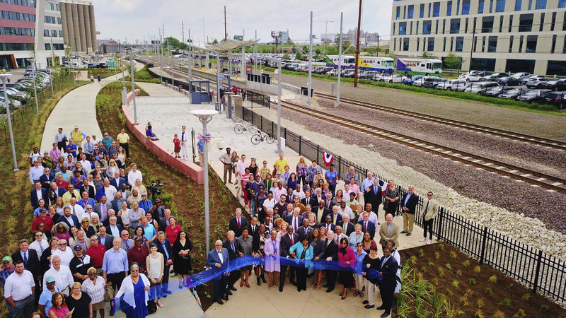 Opening of the Metrolink station in the Cortex Innovation Center marked the first time for a privately funded transit project.