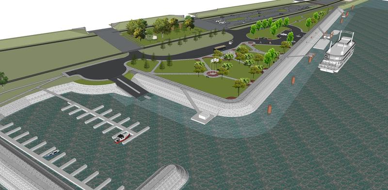 This rendering shows Hannibal's marina, docking area and green space, now under construction.