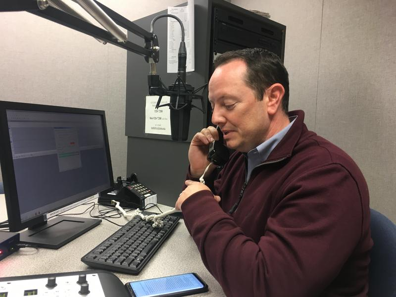 Sen.-elect Eric Burlison records an episode of Politically Speaking at KSMU studios in Springfield.