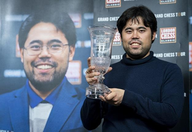 Hikaru Nakamura smiles after winning the Grand Chess Tour in London on December 17, 2018.