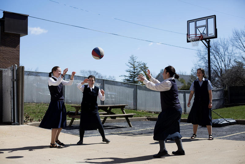 Postulants of the Daughters of St. Paul play basketball after class at their convent in Crestwood in March. The nuns-in-training spend their time studying, praying and working at a bookstore. The order's mission is to spread the Gospel through media.