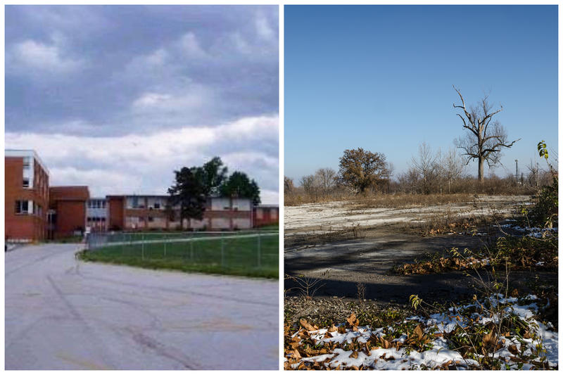 The old Berkeley High School, and the area now, which is owned by St. Louis Lambert International Airport.