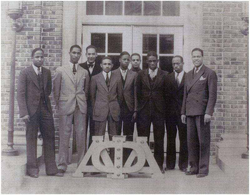 Lloyd Gaines, second on the left, with his Alpha Phi Alpha fraternity brothers. Gaines' attempt to study law at the University of Missouri was a stepping stone to school desegregation.