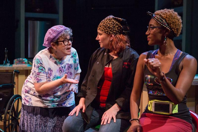 Kathleen Sitzer plays Mom, Sarajane Alverson plays Rossi and Erin Renee Roberts plays Skillit in New Jewish Theatre's production of