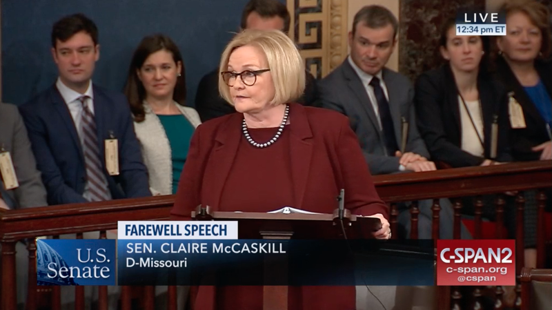 U.S. Sen. Claire McCaskill, D-Missouri, gives a farewell address to her Senate colleagues on Dec. 13, 2018.