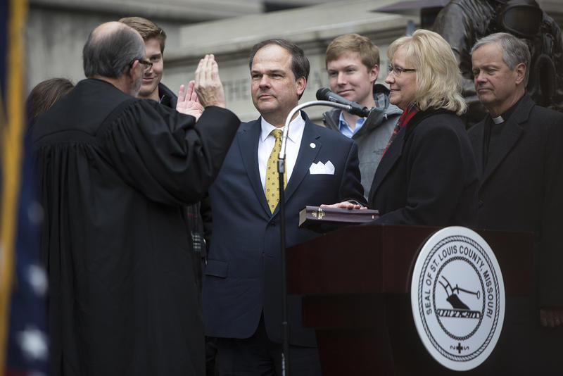St. Louis County Councilman Mark Harder is sworn in on Tuesday afternoon. Jan. 1, 2019