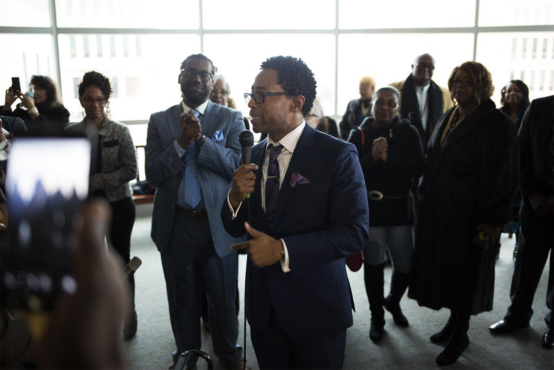 St. Louis County Prosecuting Attorney Wesley Bell speaks with supporters at a reception at the Buzz Westfall Justice Center following his swearing in ceremony.