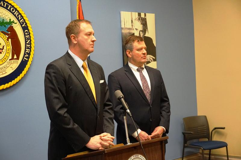 Missouri Attorney General Eric Schmitt and U.S. Attorney Jeff Jensen answer questions on Jan. 22, 2019 after announcing that lawyers from Schmitt's office will help federal prosecutors handle violent crime cases.