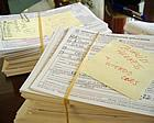 A pile of registrations cards deemed questionable by St. Louis election officials (KWMU file photo/Tom Weber)