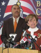 Congressman William Lacy Clay and St. Louis Board of Election Commissioners chairman Carol Wilson unveil the sample ballot