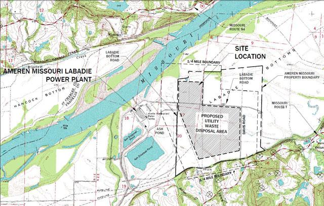 "This diagram is an excerpt of ""figure 1"" from Ameren's ""Detailed Site Investigation,"" showing the location of the company's proposed coal ash landfill near Labadie, Missouri."