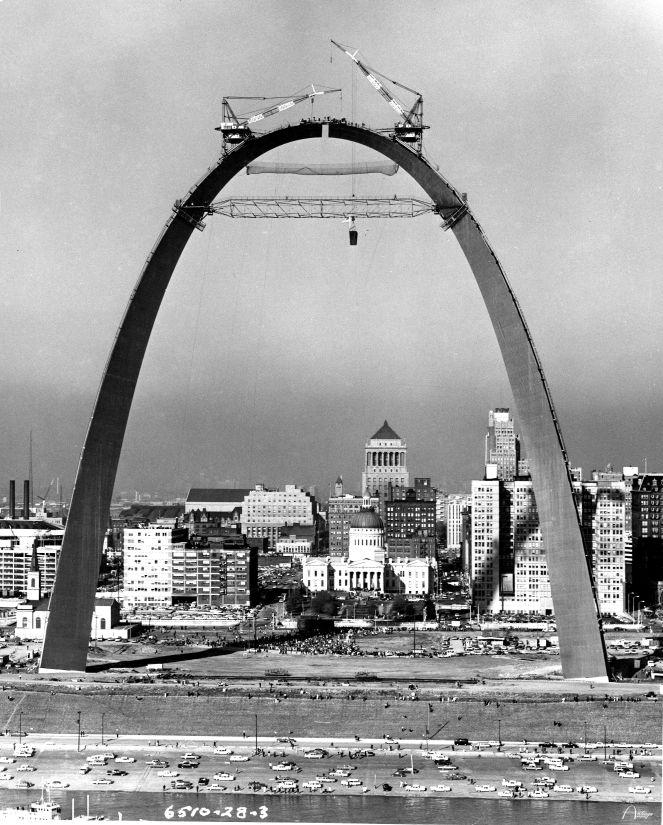 The St. Louis Arch under construction, 1965