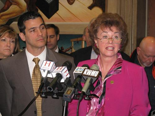 (l-r) State Rep. Brian Nieves (R, Washington) and State Senator Jane Cunningham (R, Chesterfield), address reporters at a news conference today in Jefferson City.