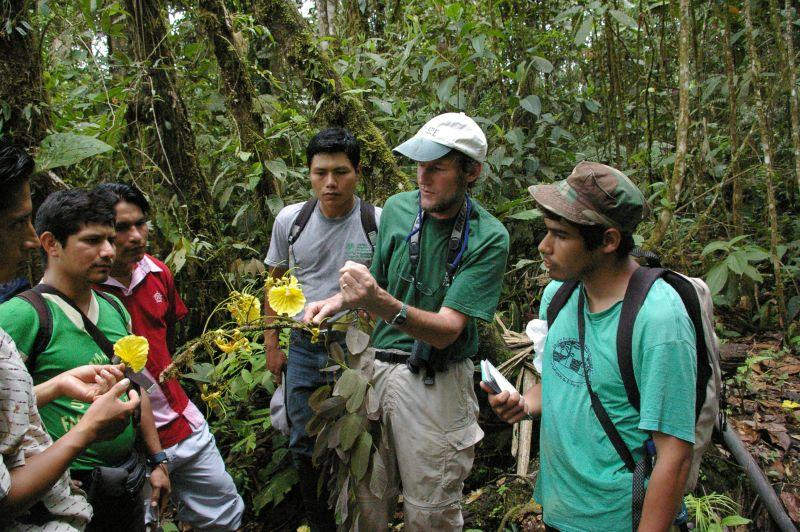 David Neill (pictured center) conducts research in the Amazon Rainforest.