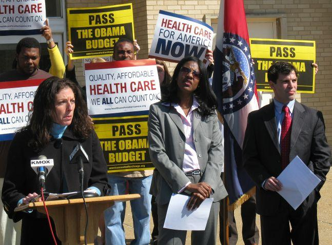 From left, Democratic state Representatives Rachel Storch and Tishaura Jones, and state Senator Jeff Smith protest the GOP budget plan