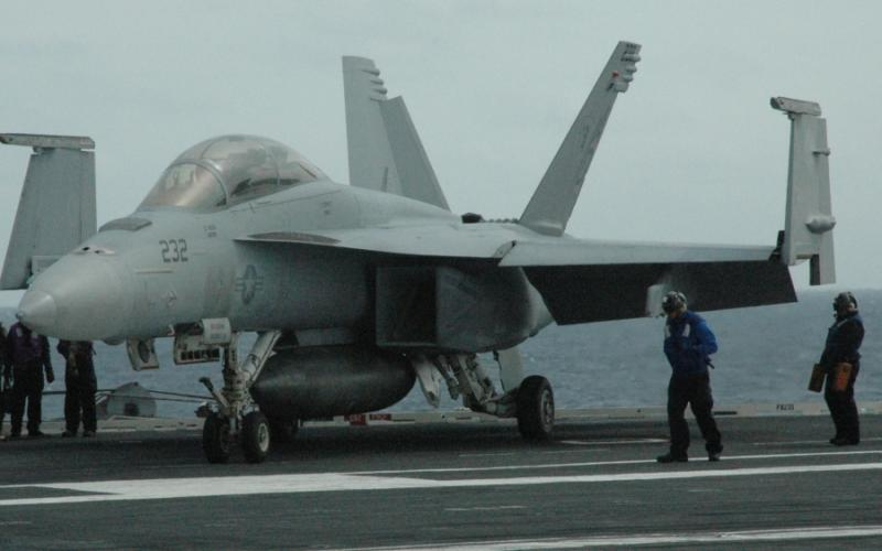 A single-seat version of the Boeing F/A-18 Super Hornet aboard the USS Harry S. Truman aircraft carrier. (photo: Matt Sepic)