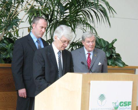 Roger Beachy, president of the Donald Danforth Plant Science Center, announced the center's first joint venture with a private company.
