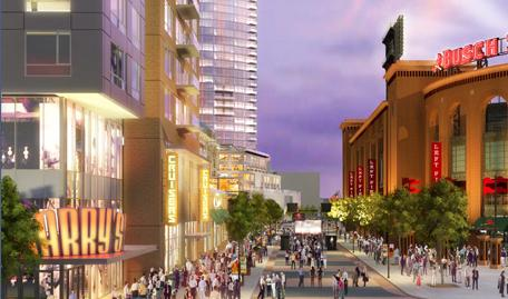 A rendering from the Cordish Company of the proposed Ballpark Village.