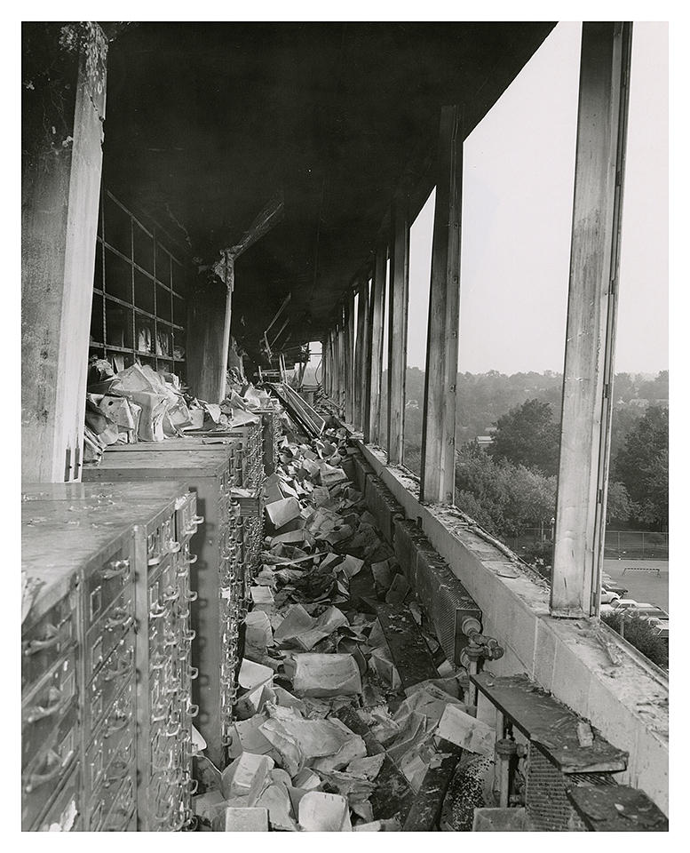 Most of the fire and water damage was on the sixth floor of the National Personnel Records Center. (photo courtesy NPRC) Click to enlarge.