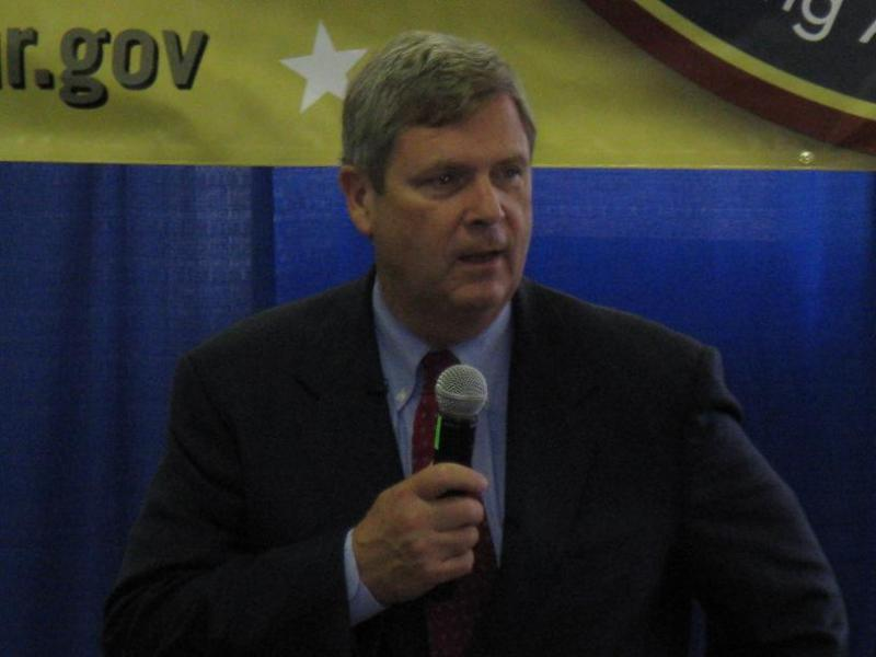U.S. Agriculture Secretary Tom Vilsack addresses a town hall meeting in Sedalia, Mo.