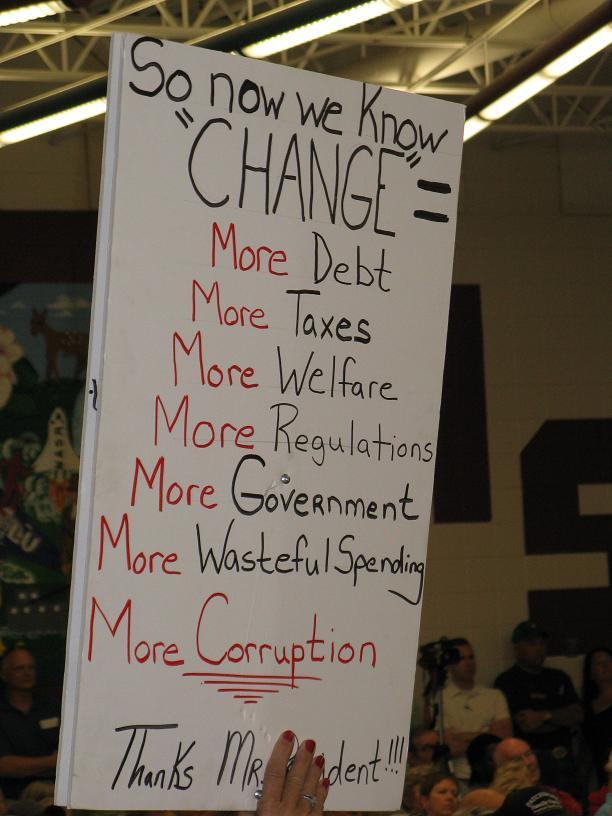 Sign at a health care town hall meeting in Jefferson City.