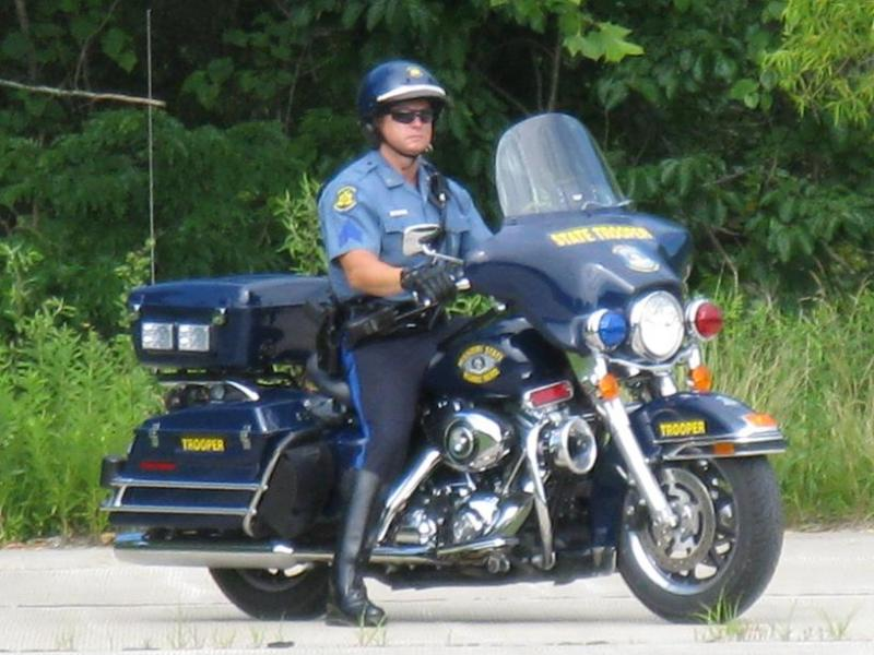 Mo. State Trooper on his motorcycle.