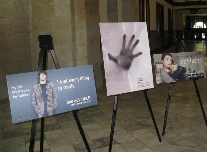 Some of the anti-meth print ads funded by the federal Office of National Drug Control Policy