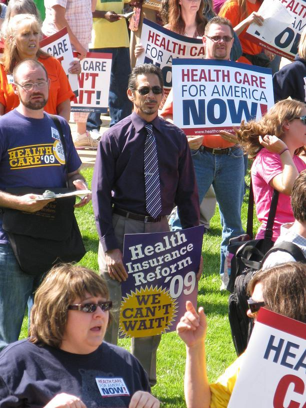 Advocates for revamping America's health care system rally at the Mo. State Capitol in Jefferson City.