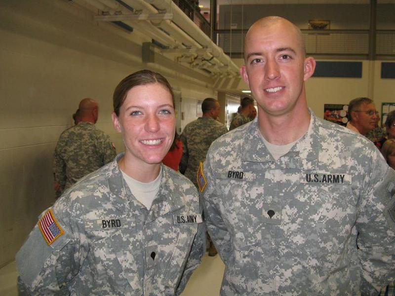 Specialists Jessica and John Byrd, a married couple and Mo. National Guard members who will be stationed together in Afghanistan.