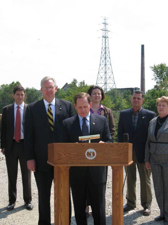 Mayor Francis Slay, Gov. Jay Nixon, and other state and local officials at the Carondelet Coke site in south St. Louis