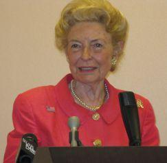 Phyllis Schlafly talks to reporters in St. Louis Friday.