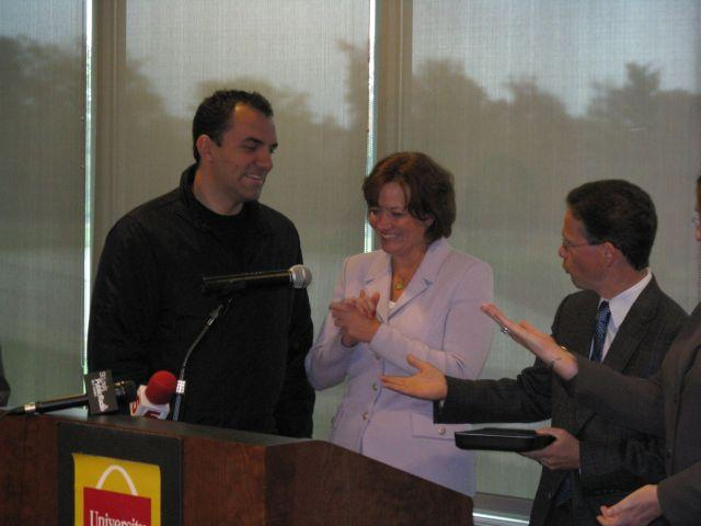 Juan Bermudez, State Auditor Susan Montee and Hispanic Chamber of Commerce President Jorge Riopedre at UMSL Thursday.