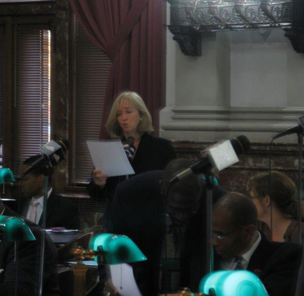Ald. Lyda Krewson (center) addresses her colleagues during debate on a smoking ban