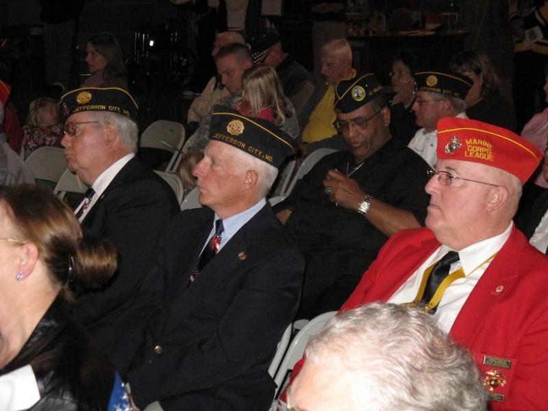A group of veterans attend a Veterans Day ceremony at the Mo. State Capitol.
