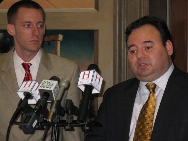 (l-r) State Reps. Jason Kander (D, Kansas City) and Timothy Flook (R, Liberty).