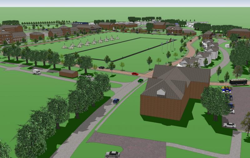 An artist's rendering of the completed Museum District encircling the West Parade Ground at Jefferson Barracks.