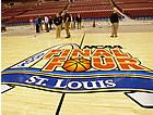 Final Four basketball court, at the Edward Jones Dome.