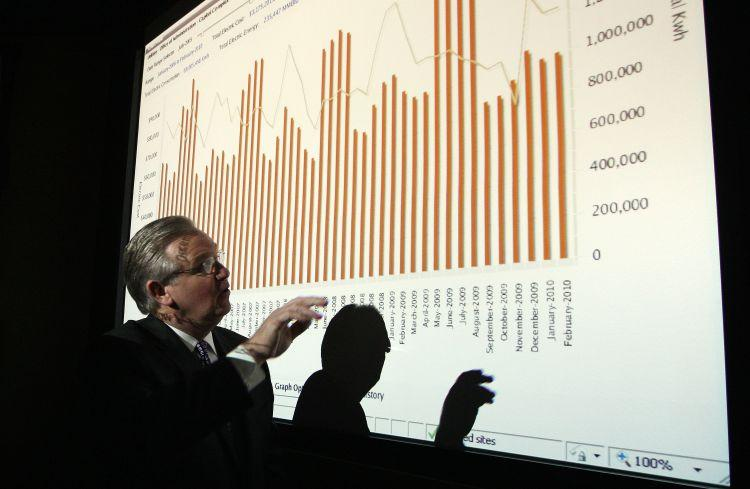 Gov. Jay Nixon surveys a chart showing energy consumption at the state Capitol complex.