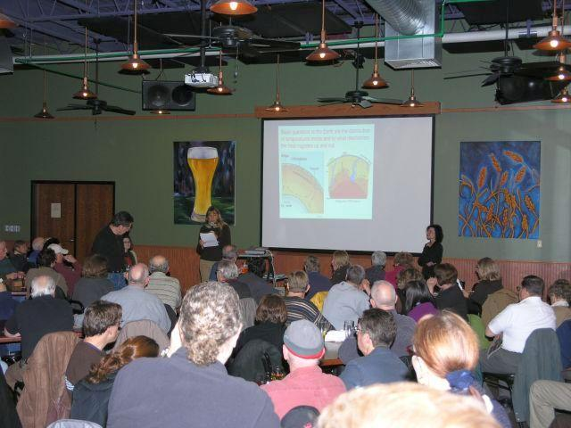 Organizer Cynthia Wichelman introduces a ?Science on Tap? speaker at the Schlafly Bottleworks.