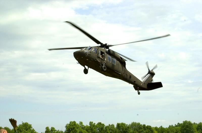 A Missouri National Guard Black Hawk helicopter.