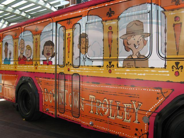 Metro has wrapped several of it buses that serve downtown to look like streetcars.