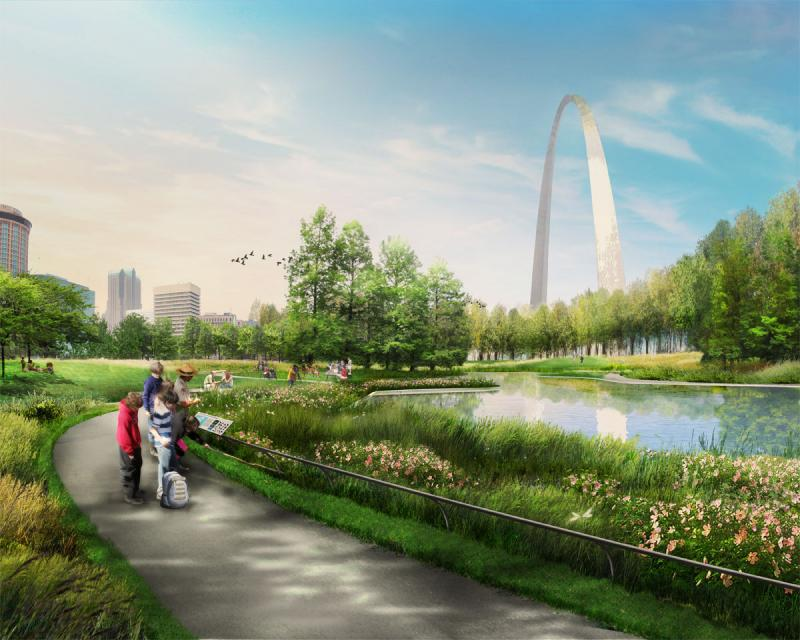 A presentation image of MVVA's plans for a historic landscape pond on the Arch grounds.