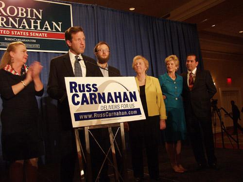 Russ Carnahan on election night 2010 surrounded by his supporters, including his sister, Robin Carnahan, who lost her bid for U.S. Senate earlier in the evening.