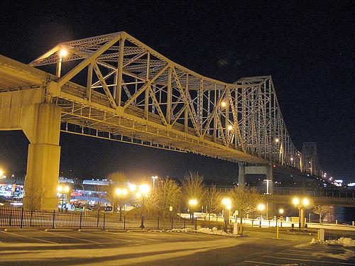 The Martin Luther King Bridge in downtown St. Louis.