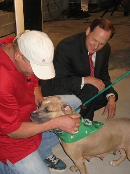 Stray Rescue founder Randy Grim with Mayor Francis Slay at the opening of Stray Rescue's new facility on July 19, 2010.