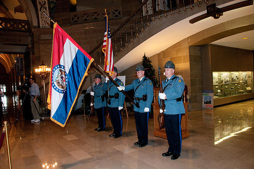 A Mo. State Highway Patrol color guard unit opens a ceremony remembering Missourians killed by drunk drivers.